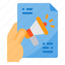 advertisment, commerce, hand, marketing, paper icon