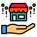 business, ecommerce, hand, shop icon