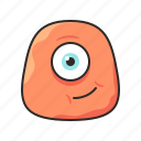 crazy, face, funny, monster, one eye, orange icon