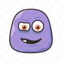 crazy, face, funny, monster, purple icon