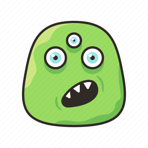 alien, confused, crazy, face, funny, monster icon