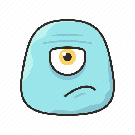 annoyed, blue, crazy, face, funny, monster icon
