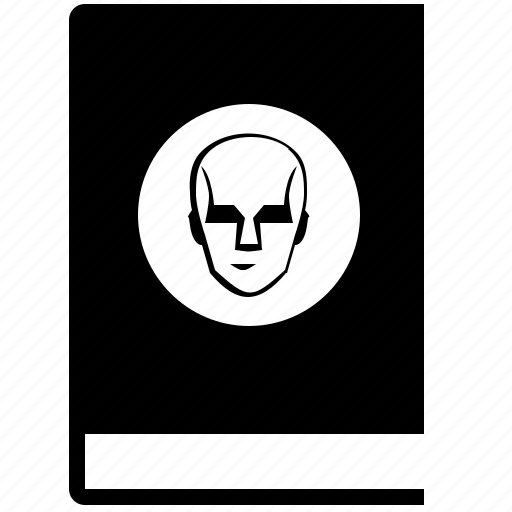 book, comics, fantastic, head, robot, round, title icon
