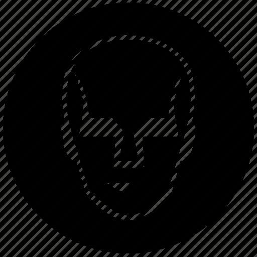 comics, face, head, robot, round icon