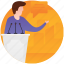 asking questions, interviewing, journalist questions, live interview, speech icon
