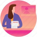 breaking news, bulletin, news, newscaster, reporter, studio news icon