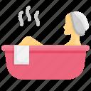 woman, hot, water, bath, bathtub, relaxation, spa
