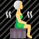hot, relaxation, sauna, spa, steam, wellness, woman