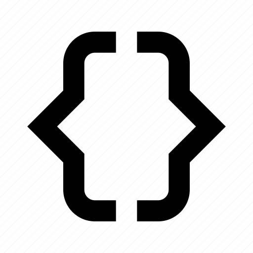 braces, code, designation, left, right icon