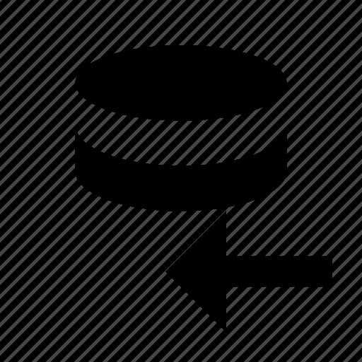 data, database, import, prev, storage icon