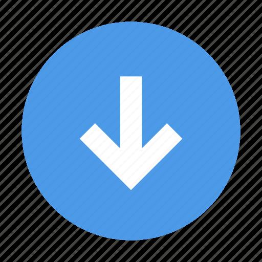 arrow, down, round icon