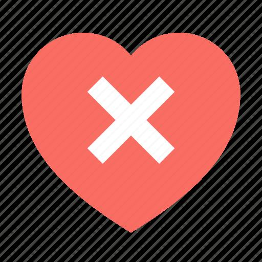 delete, heart brake, love icon