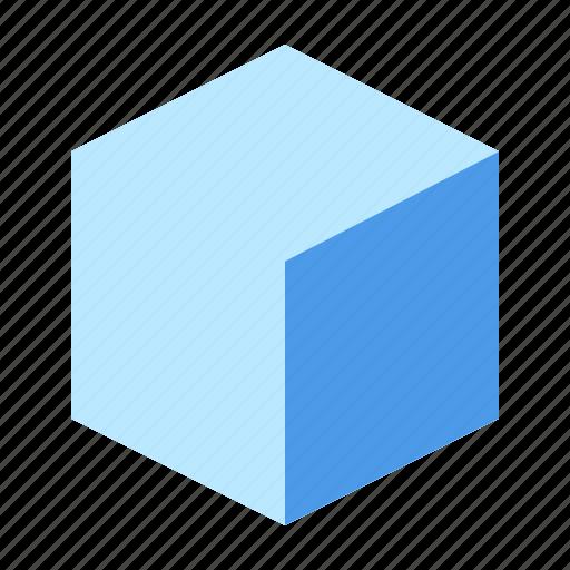 cube, edge, isometric, right icon