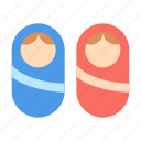 babies, swaddle, twins icon