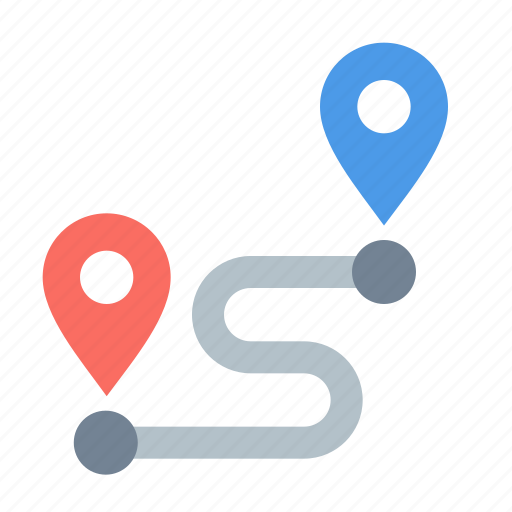 map, pin, route icon