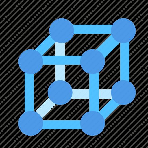 crystal, lattice, molecular icon