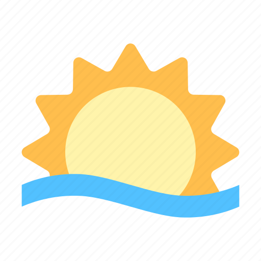 sun, sunrise, water icon