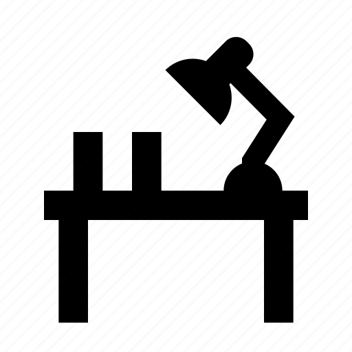 desk, furniture, interior, lamp, office, study, table icon