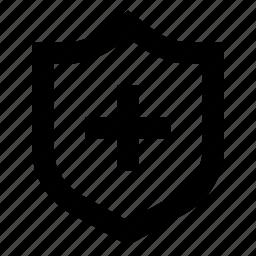 cross, safe, schield, unsurance icon