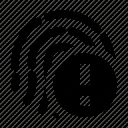alert, biometric, finger, fingerprint, scan, touchid, warning icon