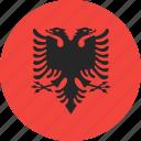 albania, circle, country, flag, nation