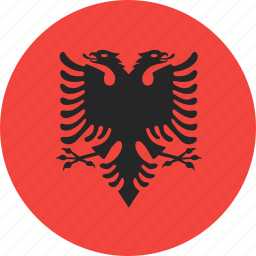 albania, circle, country, flag, nation icon