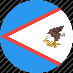 american, circle, country, flag, nation, samoa icon
