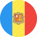 andorra, circle, country, flag, nation icon
