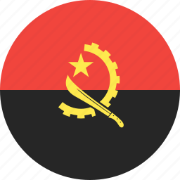 angola, circle, country, flag, nation icon