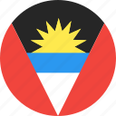 and, antigua, barbuda, circle, country, flag, nation icon