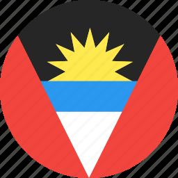 and, antigua, barbuda, circle, country, flag, nation icon