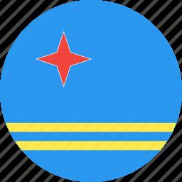 aruba, circle, country, flag, nation icon