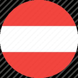 austria, circle, country, flag, nation icon