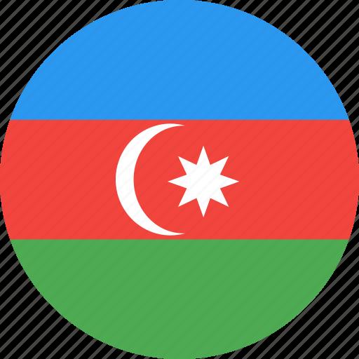 azerbaijan, circle, country, flag, nation icon