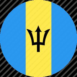 barbados, circle, country, flag, nation icon