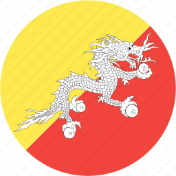 bhutan, circle, country, flag, nation icon