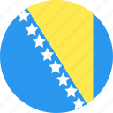and, bosnia, circle, country, flag, herzegovina, nation icon