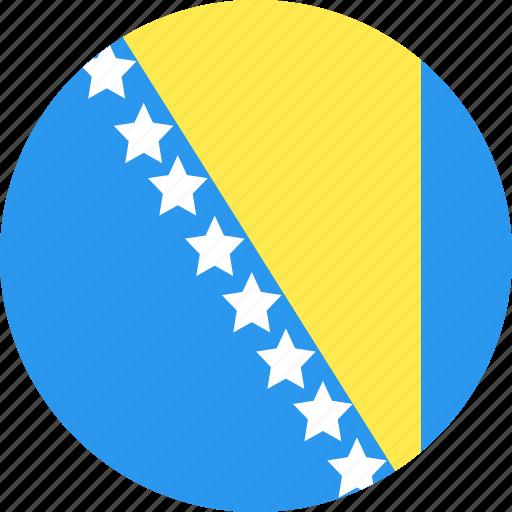 and, bosnia, circle, country, flag, herzegovina, nation icon