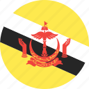 brunei, circle, country, flag, nation icon