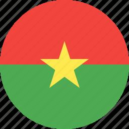 burkina, circle, country, faso, flag, nation icon