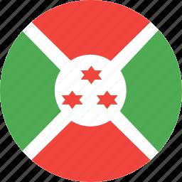 burundi, circle, country, flag, nation icon