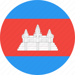 cambodia, circle, country, flag, nation icon