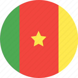 cameroon, circle, country, flag, nation icon