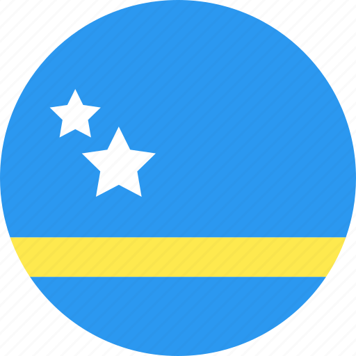 circle, country, curacao, flag, nation icon