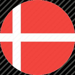 circle, country, denmark, flag, nation icon