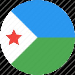 circle, country, djibouti, flag, nation icon