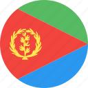 circle, country, eritrea, flag, nation icon