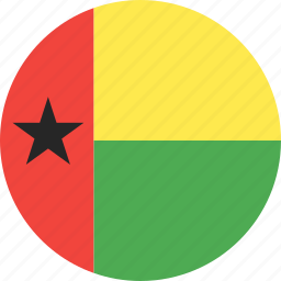 bissau, circle, country, flag, guinea, nation icon