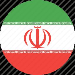 circle, country, flag, iran, nation icon