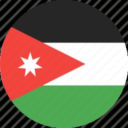 circle, country, flag, jordan, nation icon